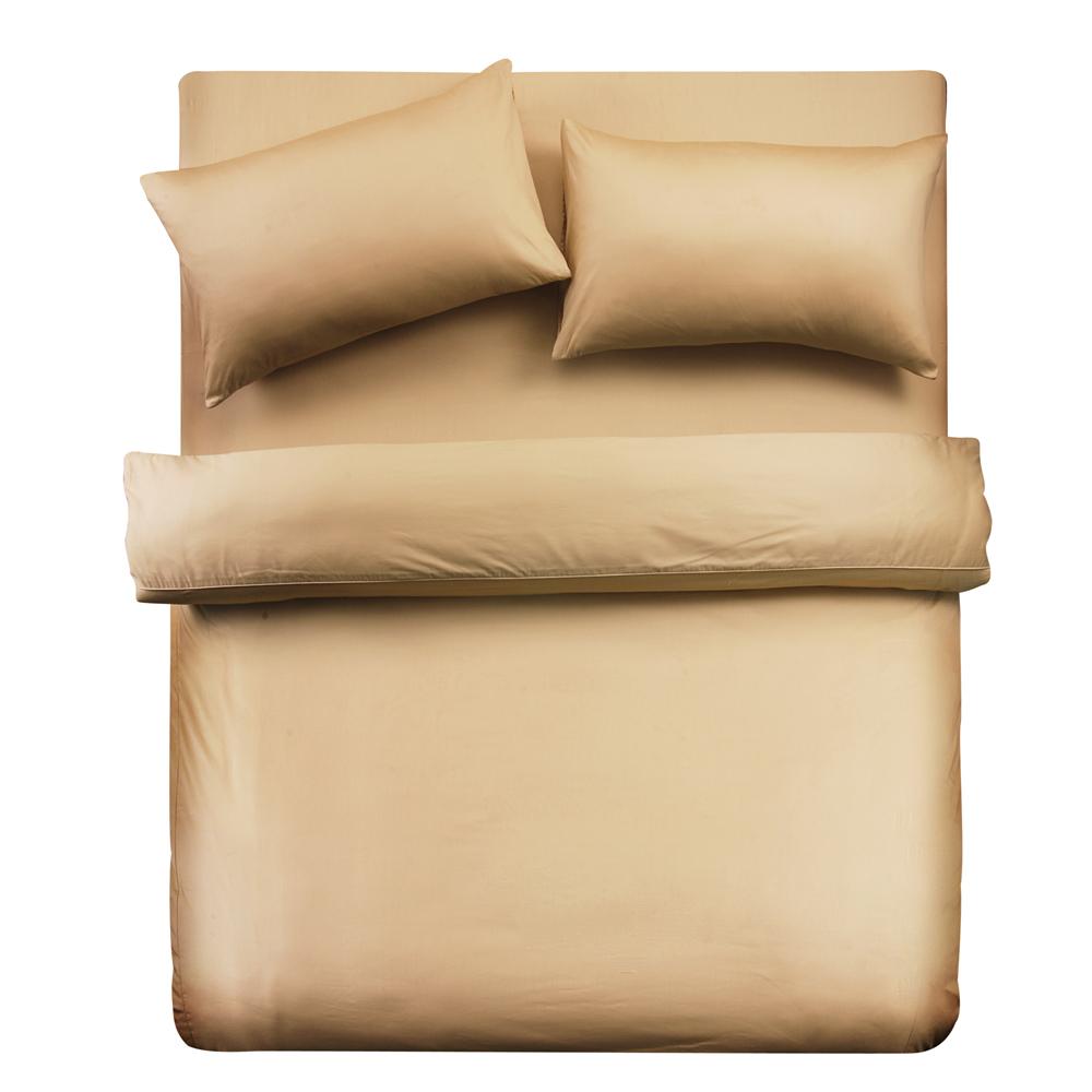 義大利Famttini-典藏原色 單人三件式精梳棉被套床包組-金黃