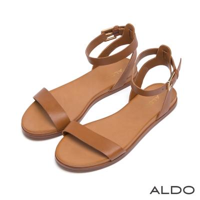ALDO-真皮鞋面一字繞帶涼鞋-自然棕色