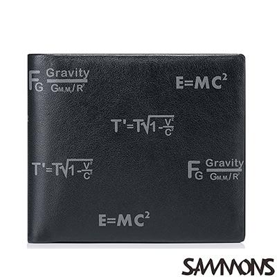 SAMMONS 真皮達爾方程式壓印短夾  沉穩黑