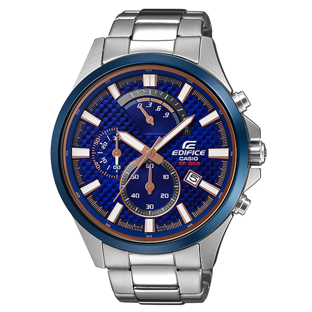 EDIFICE   渦輪動力三眼時尚腕錶-EFV-530DB-2AVUDF-46mm