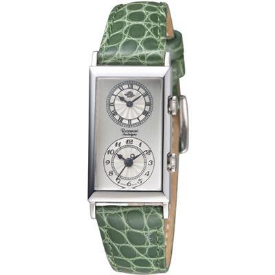 Rosemont 玫瑰錶 雙時區典雅時尚腕錶-白x綠色錶帶/33x20mm