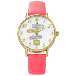 kate spade Metro 紐約時尚品味指標真皮手錶-白x金框x螢光粉/34mm