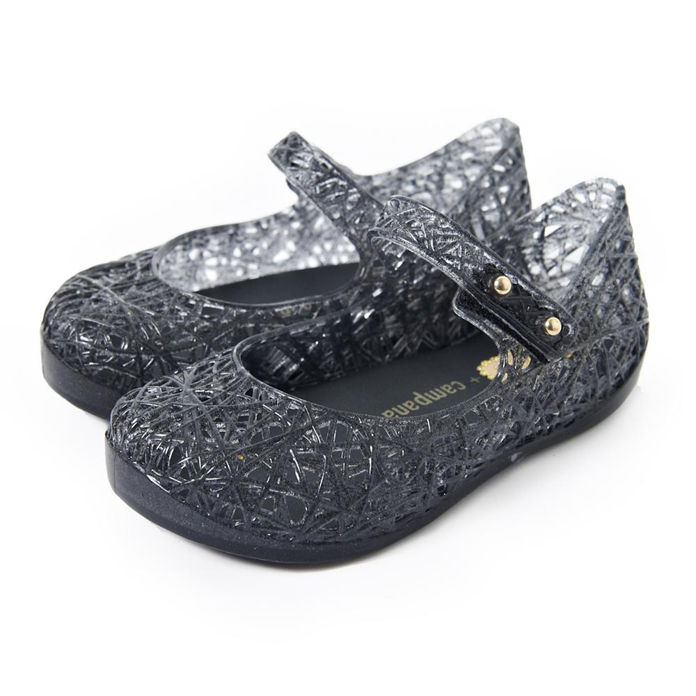 MINI MELISSA經典炫彩鳥巢童鞋-透明黑