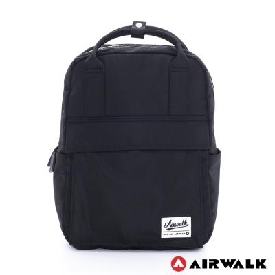 AIRWALK-絕色生活-全彩尼龍筆電後背包-極簡黑