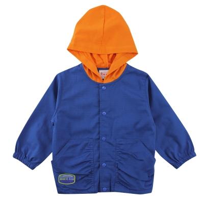 愛的世界 SUPERMINI 純棉束袖釘釦口袋連帽長袖外套/2~4歲