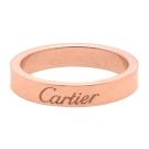 Cartier 卡地亞經典LOGO鐫刻18K玫瑰金窄版婚戒(#44)