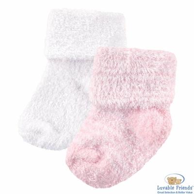 Luvable Friends 粉色款雪尼爾棉柔嬰兒襪童襪二件組