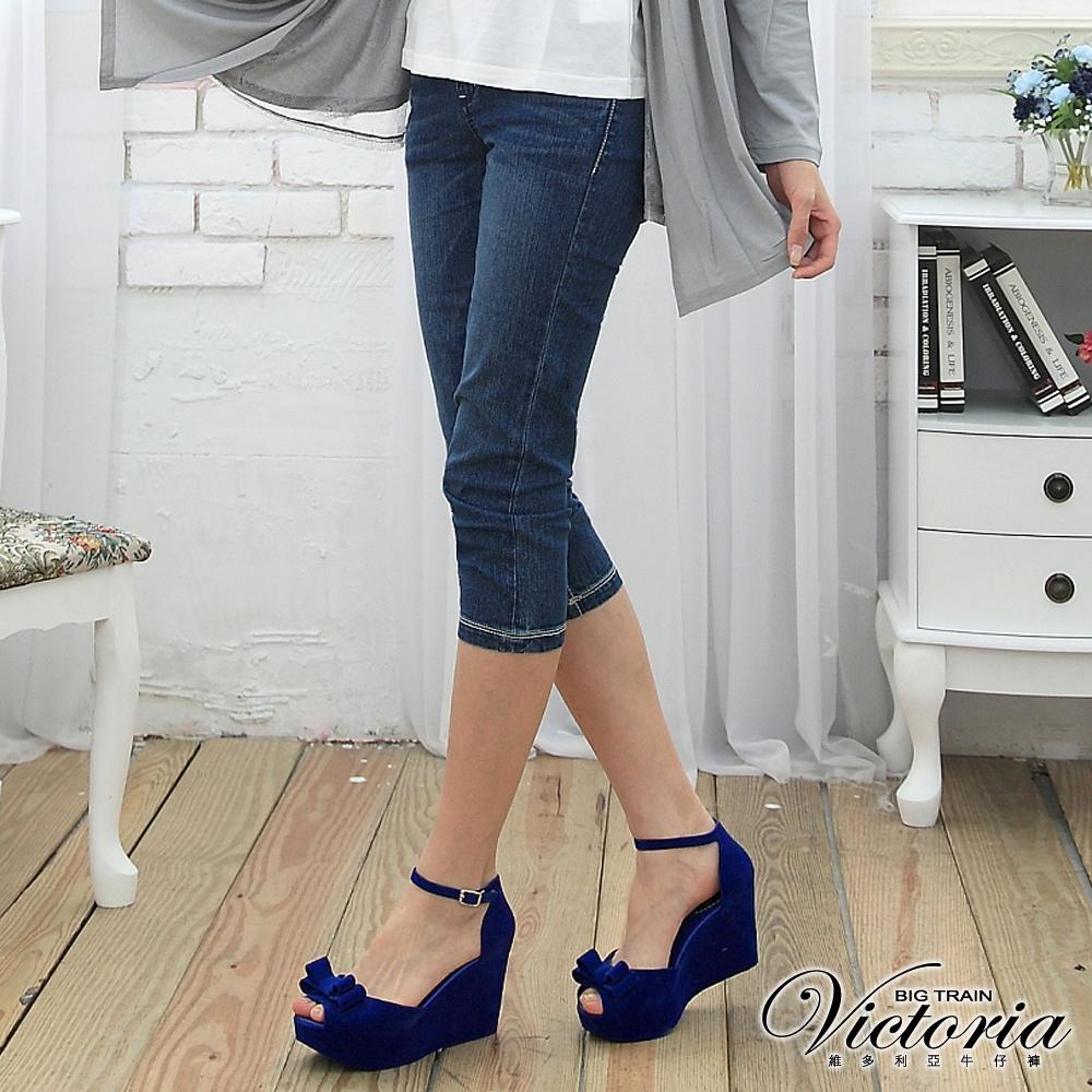 Victoria 雙色交叉鑽中腰七分褲-女-中藍