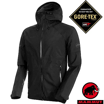 【瑞士 MAMMUT 長毛象】男 Gore-Tex 2.5層頂級防水透氣風雨衣_黑