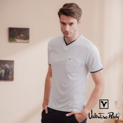 Valentino Rudy 范倫鐵諾.路迪 吸濕排汗冰涼機能T恤衫-白色-雙v口袋