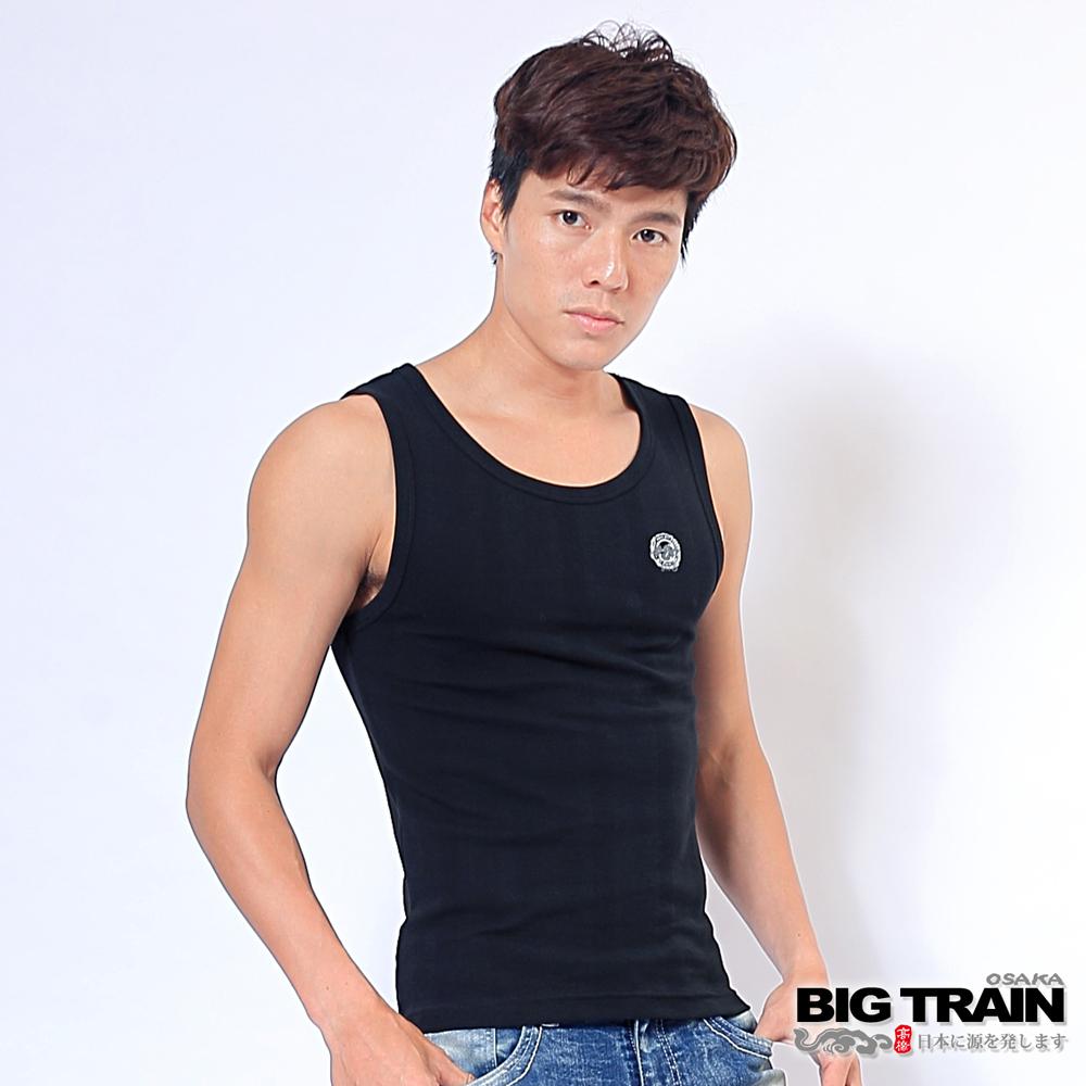 BIG TRAIN 抽針提花背心1件包-男-黑色