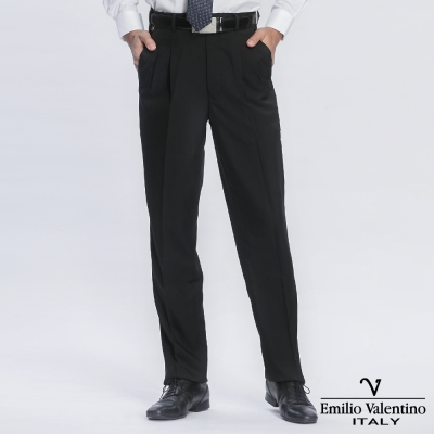 Emilio Valentino 范倫提諾精品打摺西褲-黑