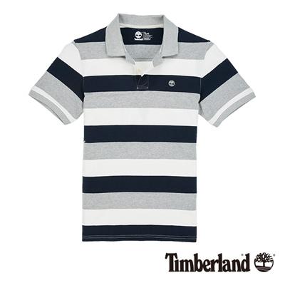 Timberland-男款藍灰色粗條紋短袖POLO