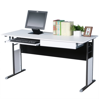 Homelike 巧思辦公桌 炫灰系列-白色仿馬鞍皮140cm(附抽屜+鍵盤架)
