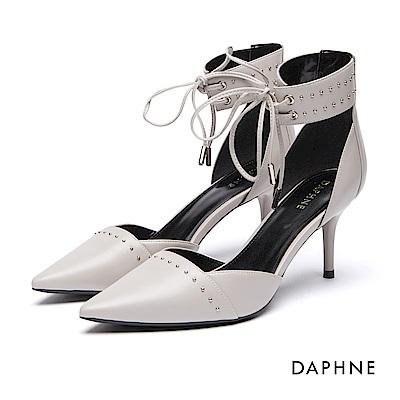 達芙妮DAPHNE 跟鞋-羅馬款繫帶鉚釘高跟鞋-淺灰