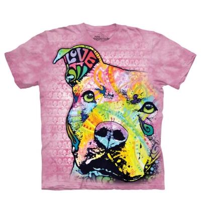 摩達客 美國進口The Mountain 彩繪粉彩凝望比特犬 純棉環保短袖T恤
