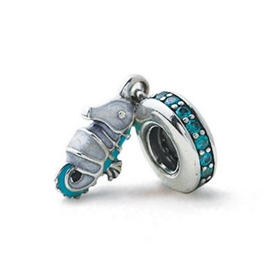 Pandora 潘朵拉 水晶藍綠塘瓷海馬墜