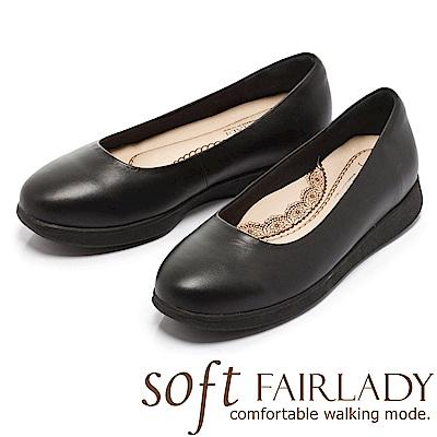 Fair Lady New超級上班者聯盟7號 曲線厚底平底鞋 黑