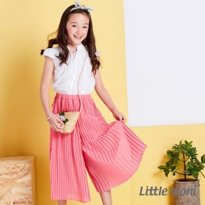 Little moni 輕甜女孩百折長褲裙 粉紅