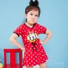 Disney 歡樂米妮圓點抽繩棉洋裝 紅色
