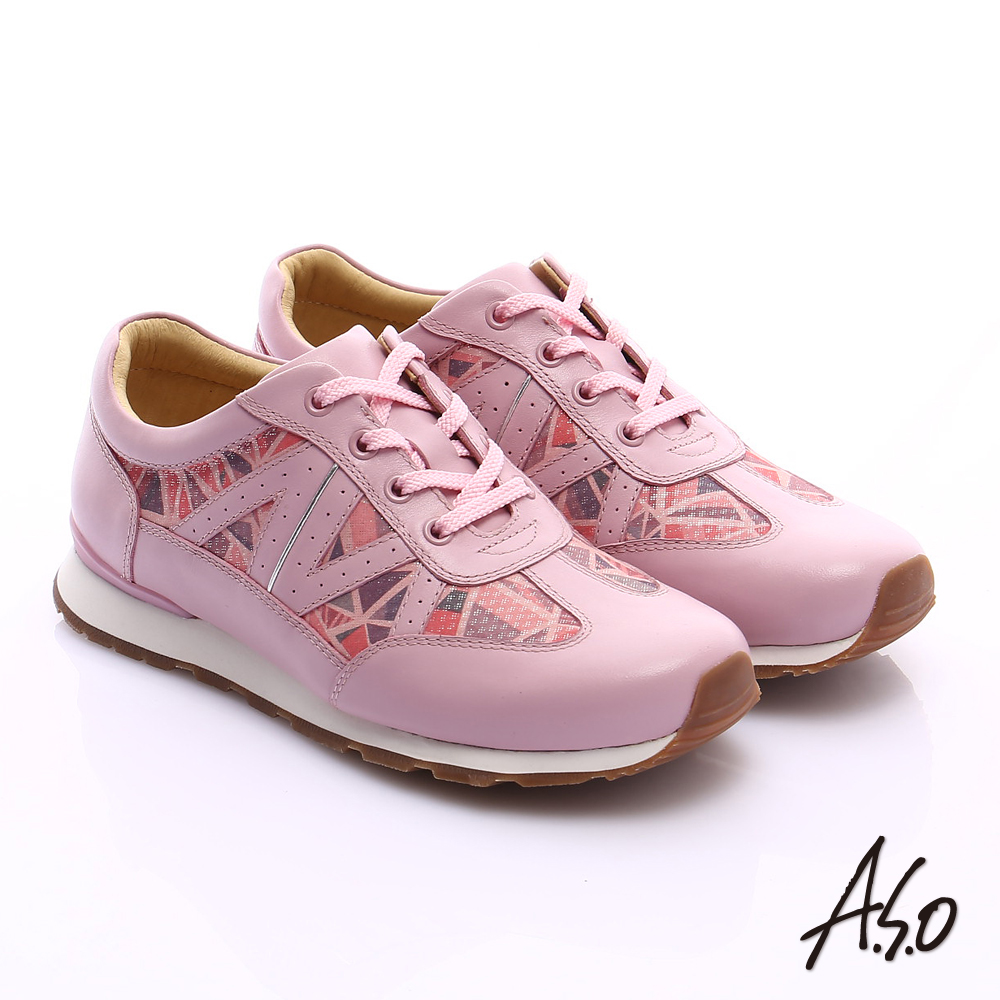 A.S.O 輕量抗震 牛皮拼接幾何奈米綁帶休閒鞋 粉紅色