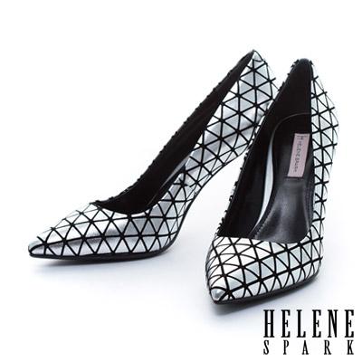 HELENE SPARK 時尚金屬電鍍球跟造型羊麂皮美型尖頭高跟鞋-銀