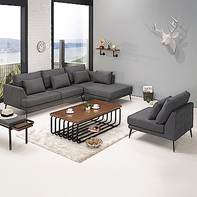 Boden-妮瑞莎L型灰色布沙發椅+單人沙發椅組合(送抱枕)(左右型可選)