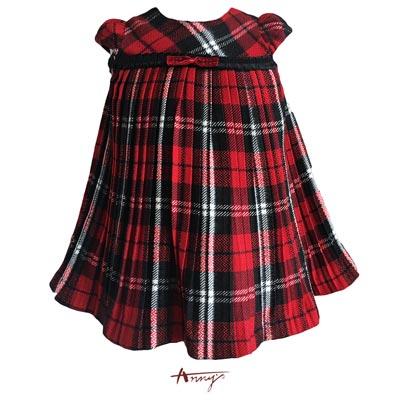 Annys淘氣小精靈聖誕紅亮片壓褶洋裝*5290紅