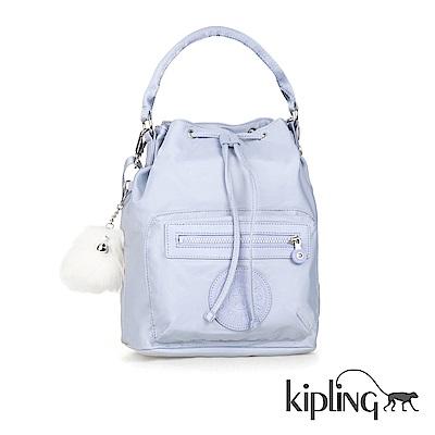 Kipling 手提包 寧靜藍素面-中