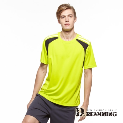 Dreamming 舒適涼爽速乾彈性休閒運動短T-果綠