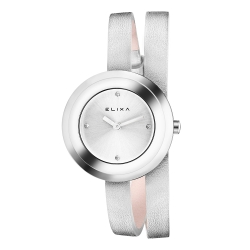 ELIXA Finesse系列銀框 銀色晶鑽錶盤/皮革纏繞式錶帶28mm
