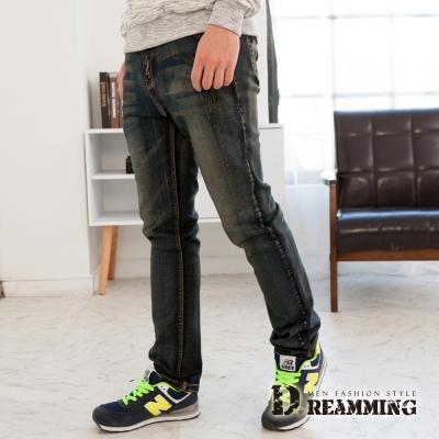 Dreamming-復古微破水洗刷色伸縮小直筒牛仔褲