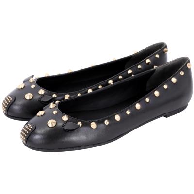 MBMJ Punk Mouse 老鼠造型鉚釘飾芭蕾舞鞋(黑色)