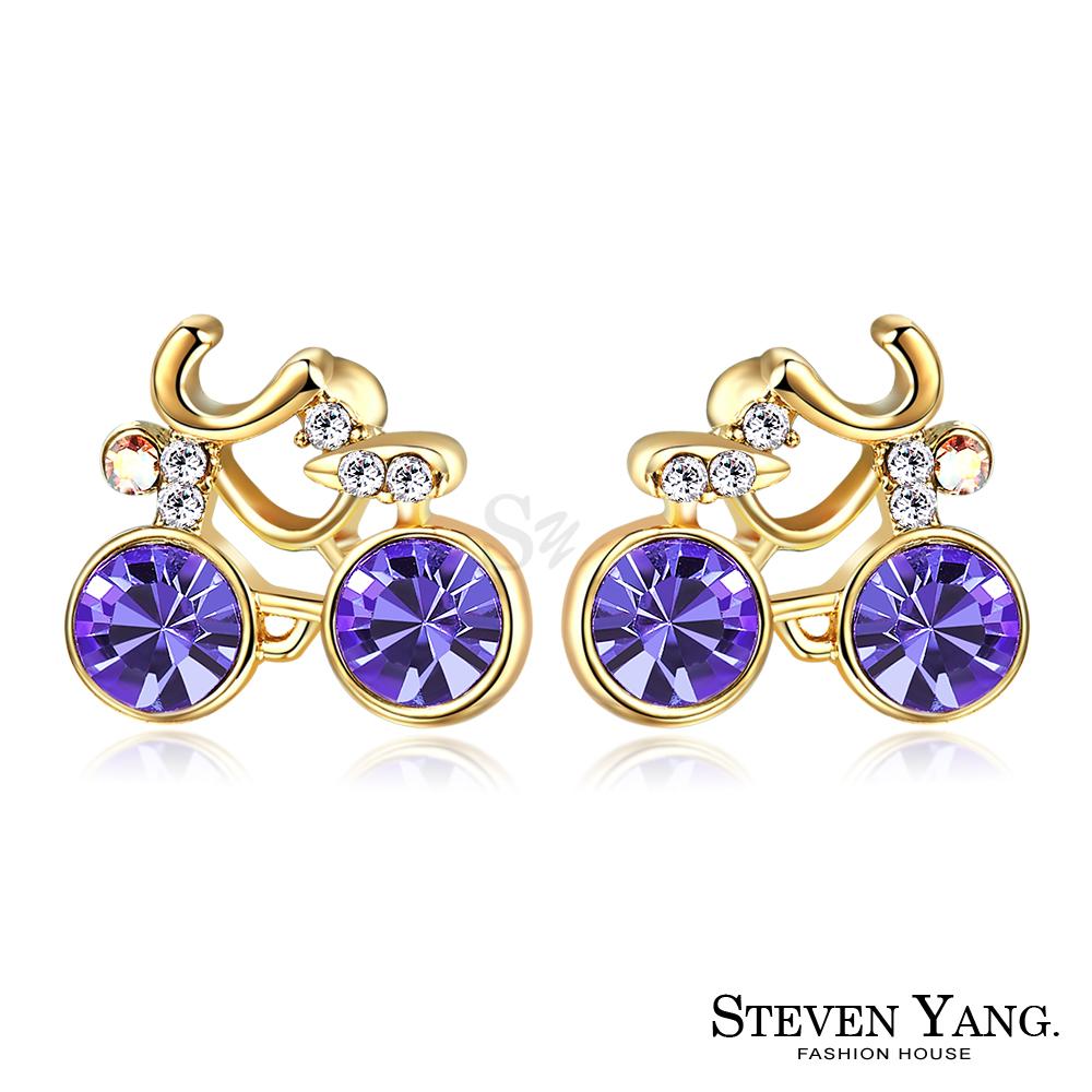 STEVEN YANG 白K耳針式耳環 悠閒生活 (金色紫水晶)