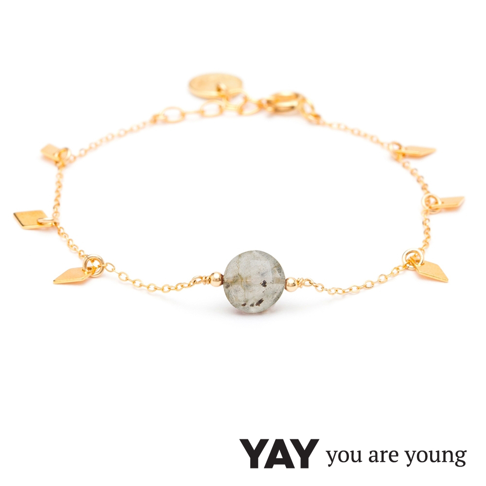 YAY You Are Young 法國品牌 Jimie 灰瑪瑙手鍊 金色
