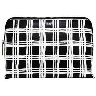 COACH黑白格紋立體化妝包
