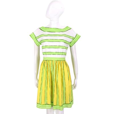 BOUTIQUE MOSCHINO 檸檬黃綠拼接條紋短袖洋裝