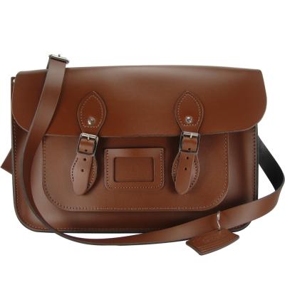 The Leather Satchel 英國手工牛皮劍橋包 肩背 側背包 栗木棕 14吋