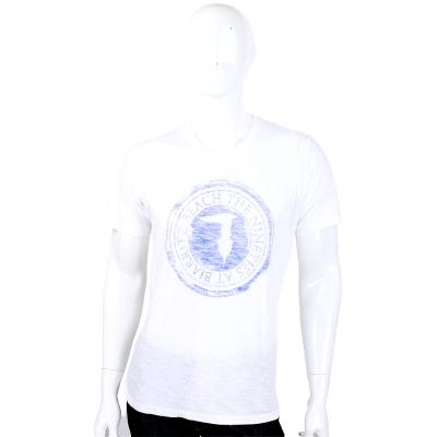 TRUSSARDI 白色拓印LOGO圖騰短袖上衣