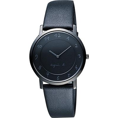 agnes b. 法國時尚藝術薄型石英女錶(BG4008P1)-黑/34mm