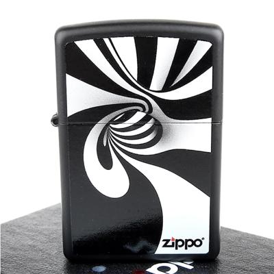 ZIPPO美系-Spiral Black White-黑白螺旋圖案膠印加工打火機