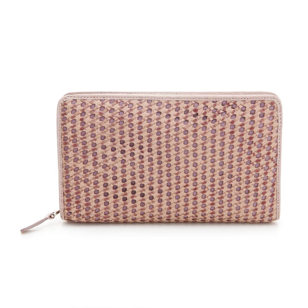 YUCCA- 六角形雙色鏤空編織牛皮手拿包 - 粉紅色 D0033025C55
