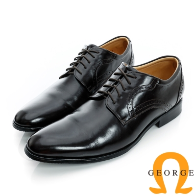 GEORGE-經典素面綁帶後雕花真皮紳士皮鞋-咖啡色