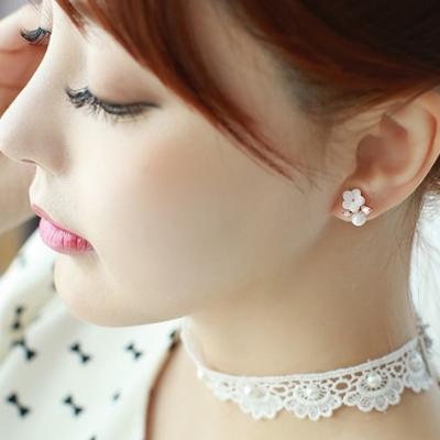 梨花HaNA 韓國925銀質感優雅氛圍清新花朵耳環