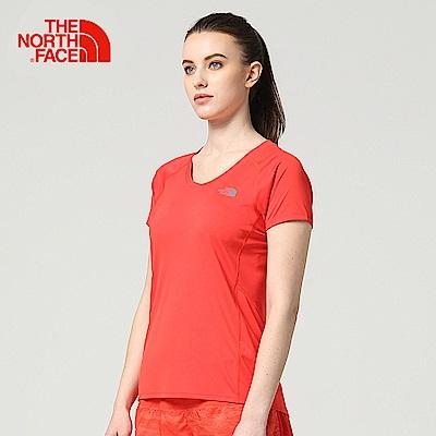 The North Face北面女款紅色吸濕排汗戶外運動短T恤
