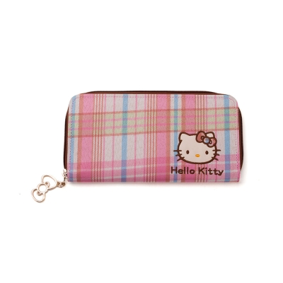 《Sanrio》HELLO KITTY彩色格紋系列拉鍊長皮夾