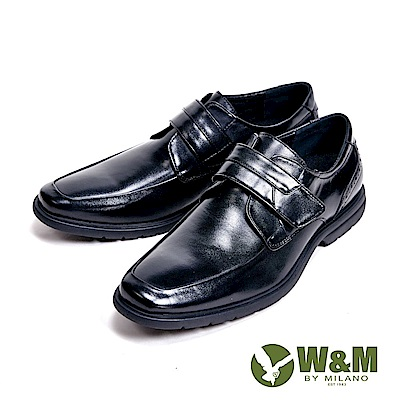 W&M 魔鬼氈設計方頭輕量氣墊感 男皮鞋-黑