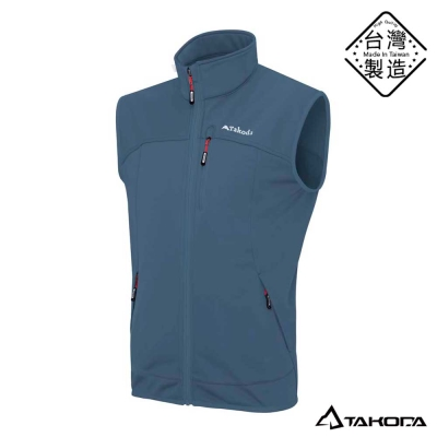 TAKODA男款鈦紗熱循環防風透氣防潑水高彈性保暖背心(鐵藍灰色)