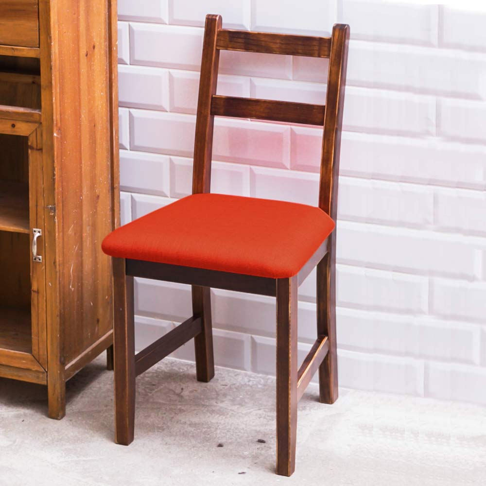 CiS自然行實木家具- 北歐實木餐椅(焦糖色)橘紅色椅墊