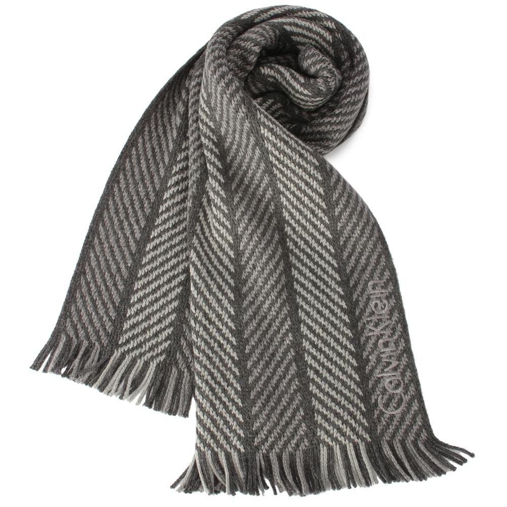 Calvin Klein 刺繡LOGO針織斜紋圍巾-深灰/淺灰